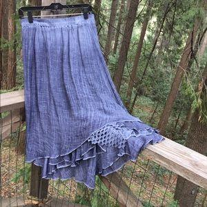 Dresses & Skirts - Denim blue tie dye crinkled tiered skirt